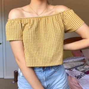 Zara Gingham Off The Shoulder Crop Top